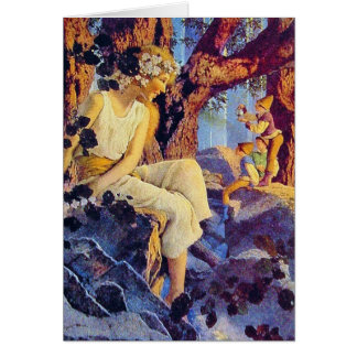 Card:  Girl with Elves - by Maxfied Parrish Card
