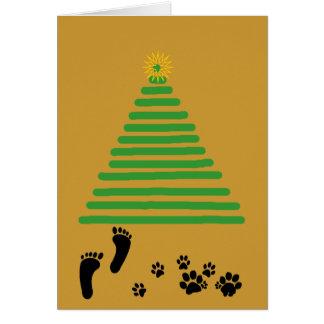 Card - Greeting - Footprints at base of tree