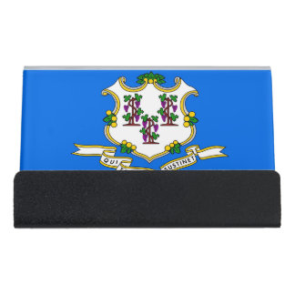 Card Holder with flag of Connecticut State, USA