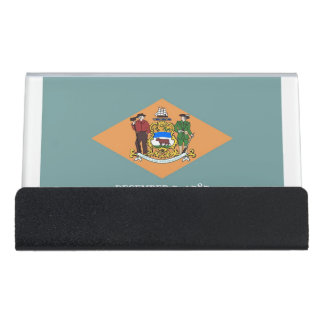 Card Holder with flag of Delaware State, USA