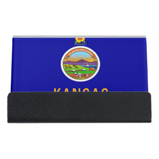 Card Holder with flag of Kansas State, USA