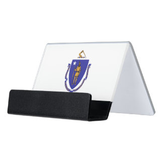 Card Holder with flag of Massachusetts State, USA