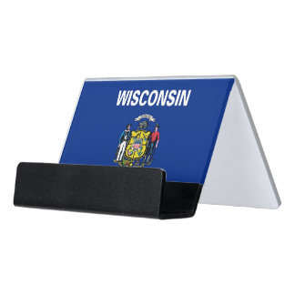 Card Holder with flag of Wisconsin State, USA