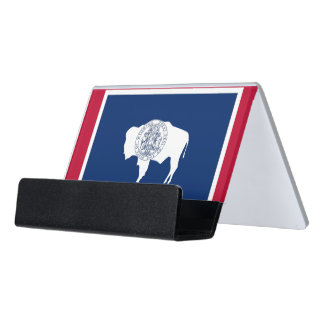 Card Holder with flag of Wyoming State, USA