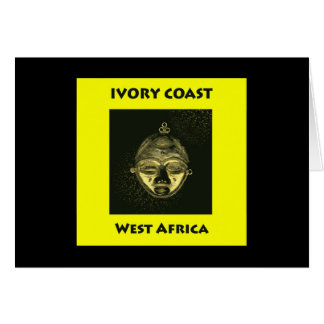 Card IVORY COAST GOLD MASK, yellow background
