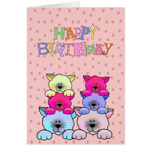 Card Kid's Girls Happy Birthday Cats 2 Greeting Card