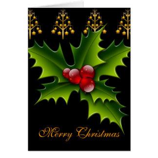 Card Merry Xmas Green Black Red Holly Christmas