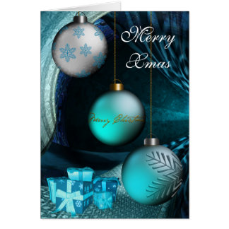 Card Merry Xmas Jade Blue Balls