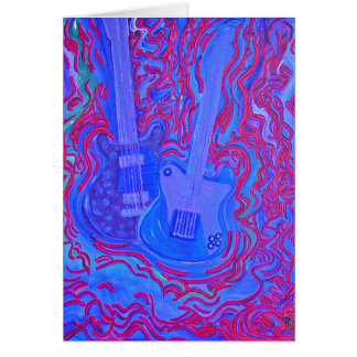 Card - Moody Blue & Red Guitar Vibrations