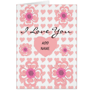 Card Pink Flowers Hearts I Love You ZIZZAGO Greeting Card