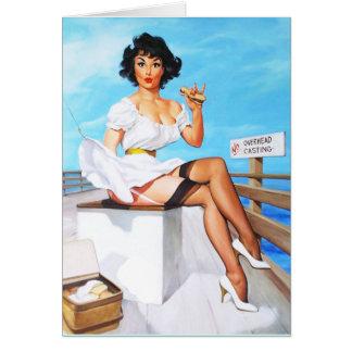 Card Pinup Girls Art Vintage Retro Seaside Card