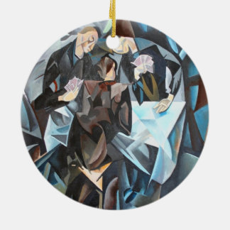 Card Players and Poker Faces Round Ceramic Decoration