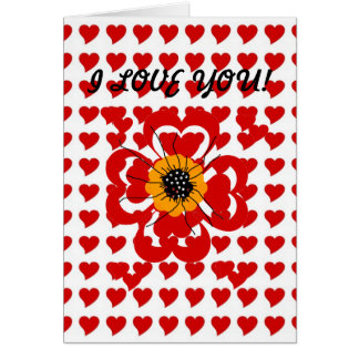 Card Red Flower Hearts I Love You ZIZZAGO Card
