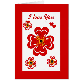 Card Red Heart Flower Red Greeting Card