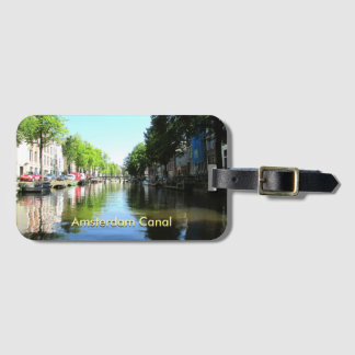 Card Slot Luggage Tag Featuring Amsterdam Canal
