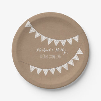 Card Stock Inspired Eyelet Bunting Wedding 7 Inch Paper Plate