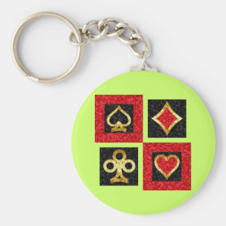CARD SUITS ABSTRACT KEY RING