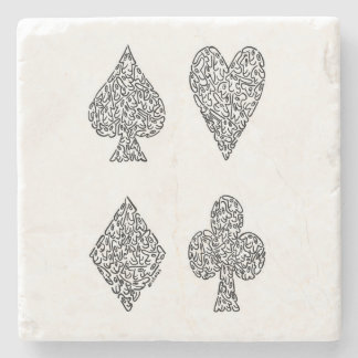 CARD SUITS IN BLACK STONE COASTER
