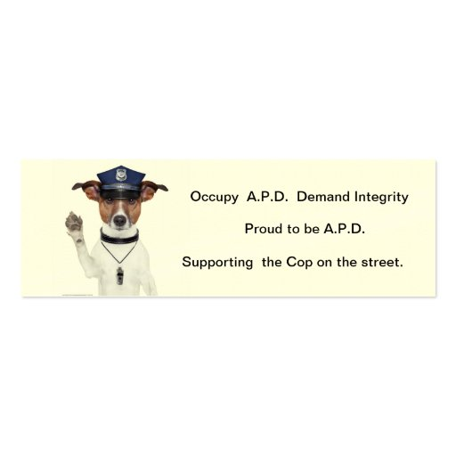 Card supporting the Street Cop Business Card Templates