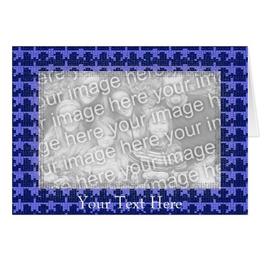 Card Template - Blue Mosaic Stars Border