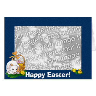 Card Template - Easter Bunny (blue border)