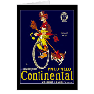 Card: Vintage Bicycle Ad:  Continental Tires Card
