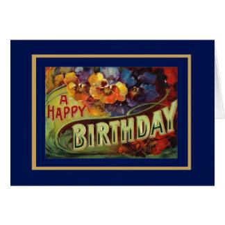 Card Vintage Happy Birthday Greetings