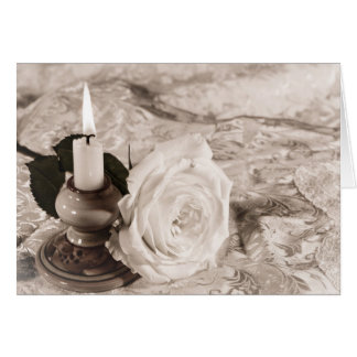Card with an antique rose and candle