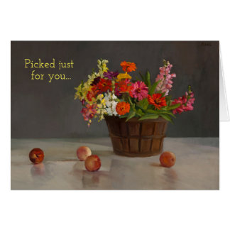 "Card with basket of flowers ""Picked just for you."""