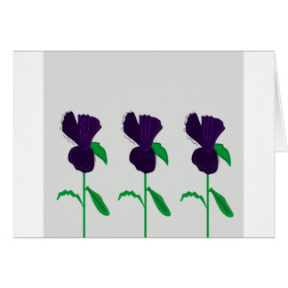 CARD WITH FLOWERS PURPLE DRAWING. Original art.