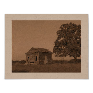 Card with old barn in sepia 11 cm x 14 cm invitation card