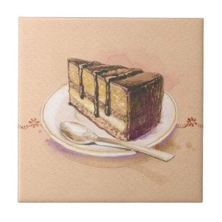 Card with painted watercolor cake small square tile