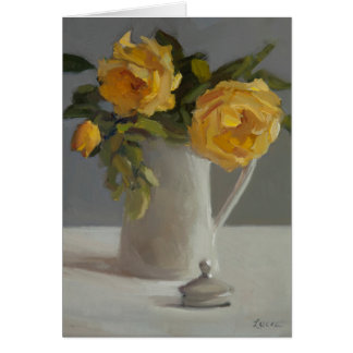 Card with yellow rose blooms in white vase.