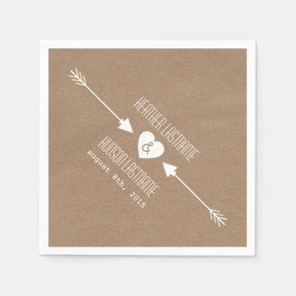Cardboard Inspired Arrows Wedding Napkins Paper Serviettes