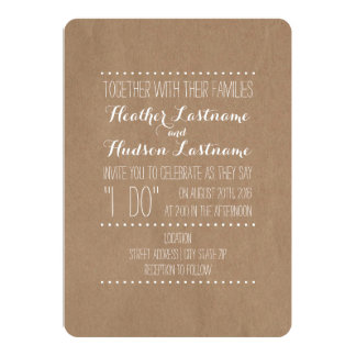 "Cardboard Inspired ""I Do"" Wedding 13 Cm X 18 Cm Invitation Card"