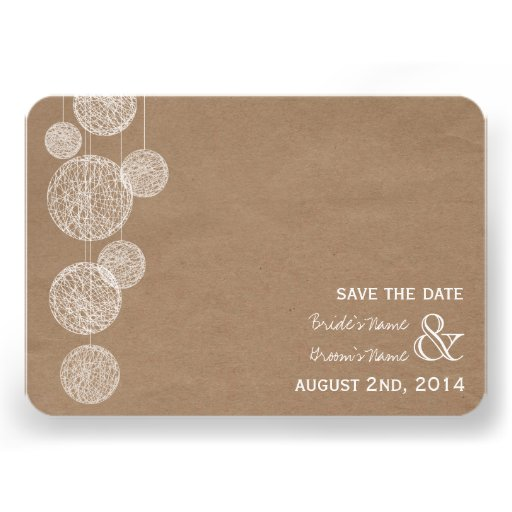 Cardboard Inspired Twine Globes Save The Date Personalized Announcements