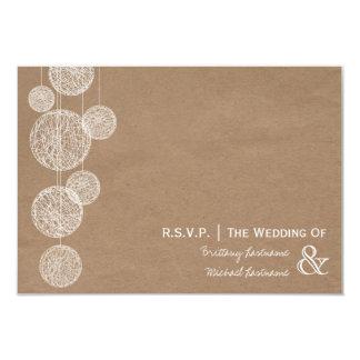 Cardboard Inspired Twine Globes Wedding R.S.V.P. 9 Cm X 13 Cm Invitation Card