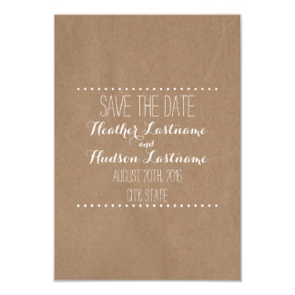 Cardboard Inspired Wedding Save The Date 9 Cm X 13 Cm Invitation Card