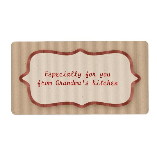 Cardboard Look, Red Check Label Shipping Label