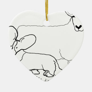 Cardi with a Sheep Standing Ceramic Heart Decoration