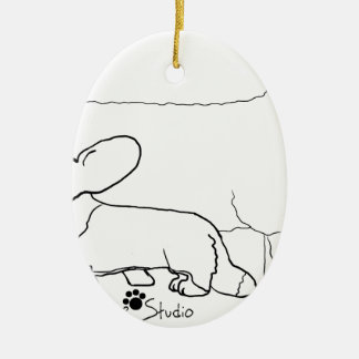 Cardi with a Sheep Standing Ceramic Oval Decoration
