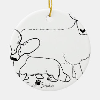 Cardi with a Sheep Standing Round Ceramic Decoration