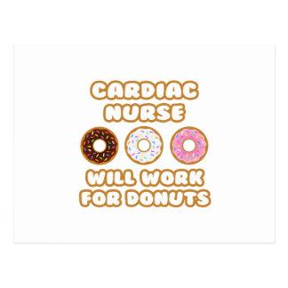 Cardiac Nurse Will Work For Donuts Postcard