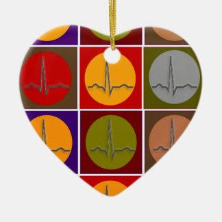 Cardiac QRS Pop Art Ceramic Ornament