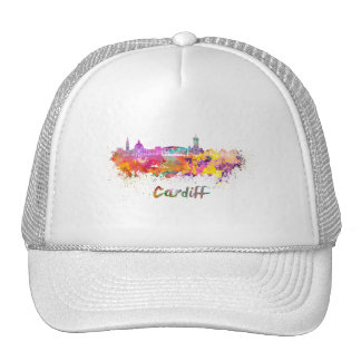 Cardiff skyline in watercolor cap