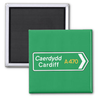 Cardiff, UK Road Sign Square Magnet