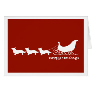 Cardigan Corgis Pulling Santa's Sleigh Cards