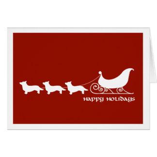 Cardigan Corgis Pulling Santa's Sleigh Greeting Card