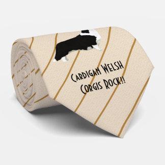 Cardigan Corgis Rock!!  printed both side Tie