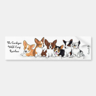 Cardigan Puppy Rainbow Bumper Sticker